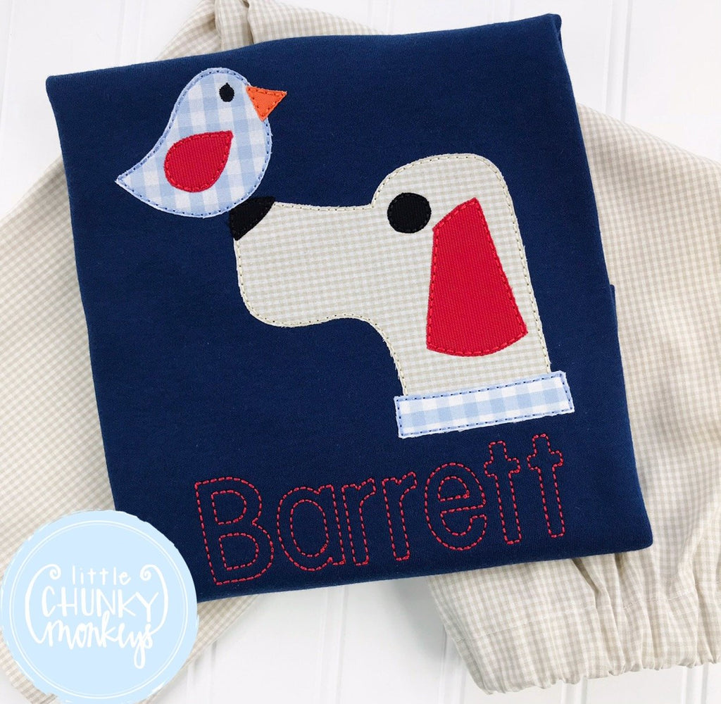 Boy Shirt - Applique Dog with Bird on Navy Shirt