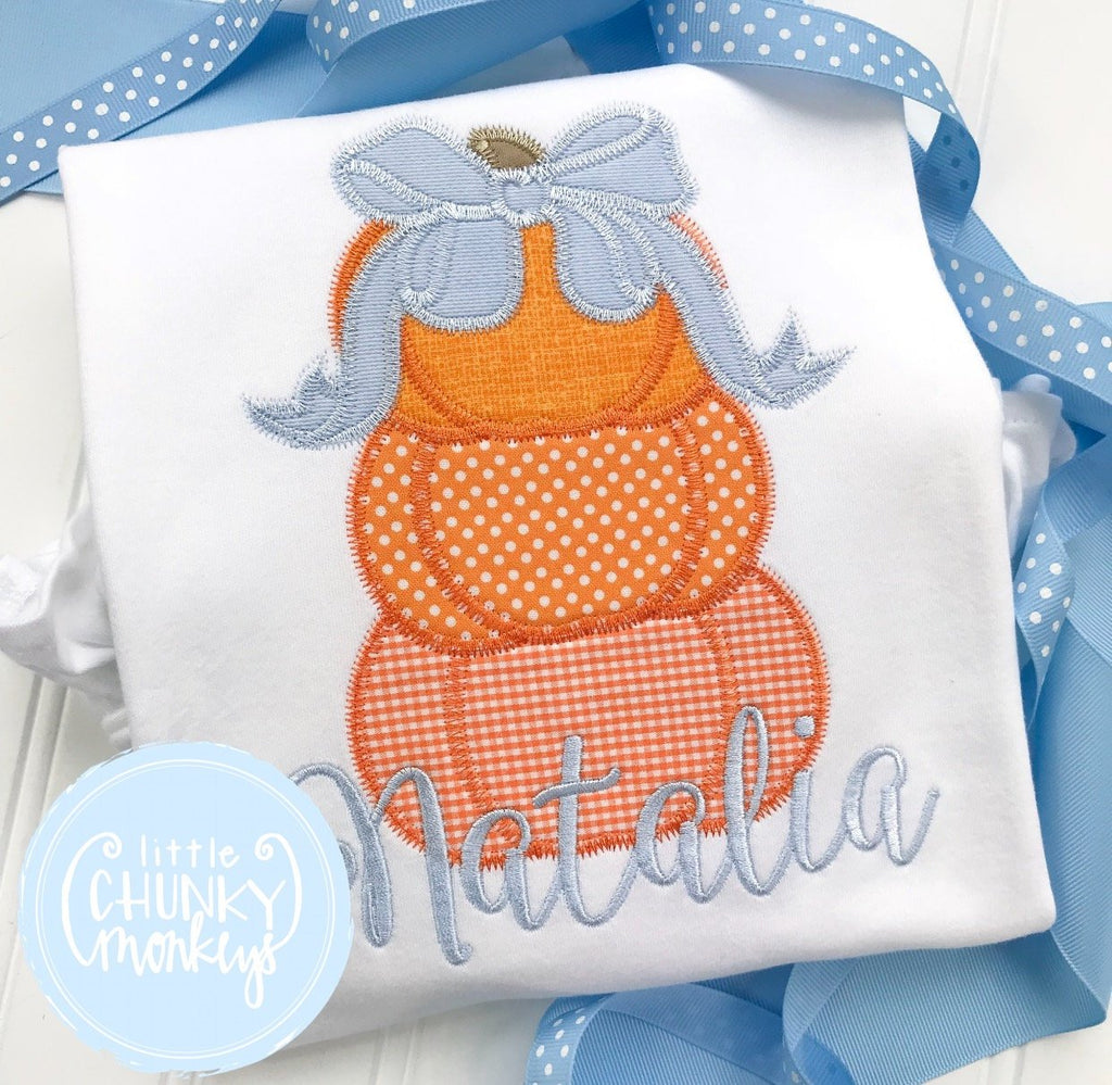 Girl outfit - Girl Fall Shirt - Applique Stacked Pumpkins with Bow
