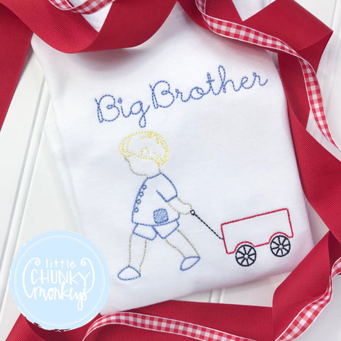 Boy Shirt -Big Brother Shirt- Boy Pulling Wagon