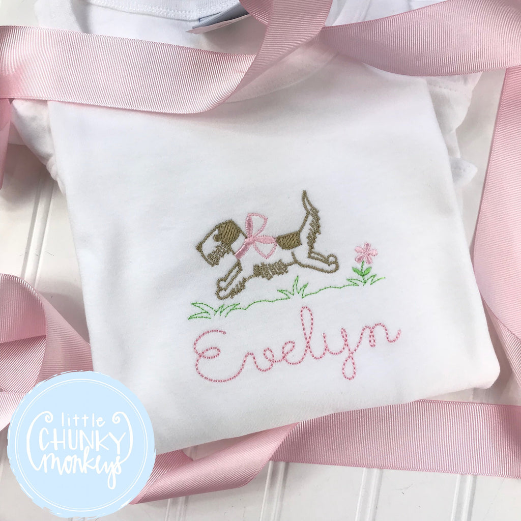 Girl Shirt - Stitched Dog with Bow + Personalization