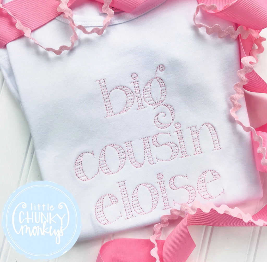 "Girl Shirt - Vintage Stitched ""Big Cousin"" in Pink"