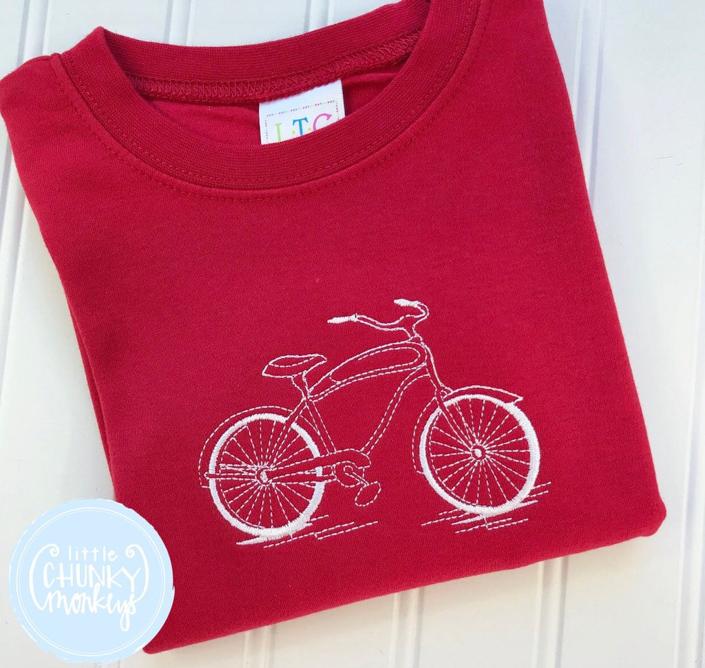 Boy Shirt - Stitched Bike on Red Shirt