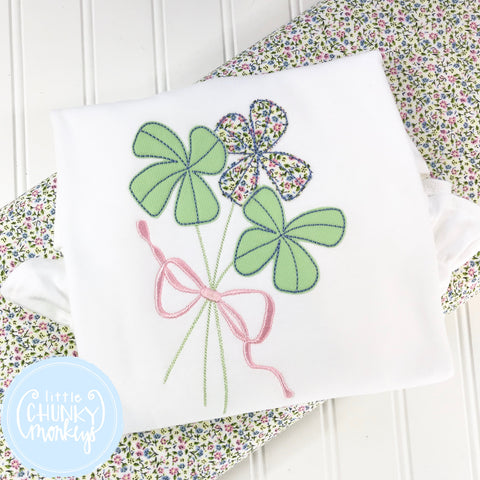 Girl Shirt - Girl St. Patrick's Day Shirt - St. Patrick's Day Clover Bundle with Bow