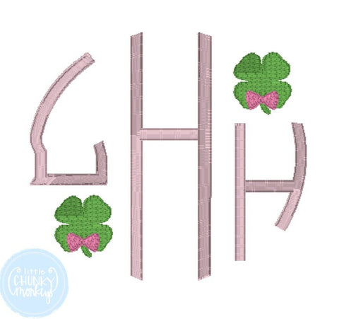 Girl Shirt - Girl St. Patrick's Day Shirt - Circle Monogram with Mini Clovers
