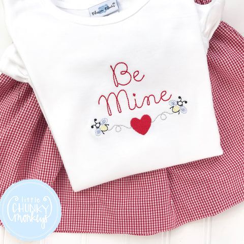 Girl Shirt- Valentine Shirt- Be Mine with Mini Bees and Hearts