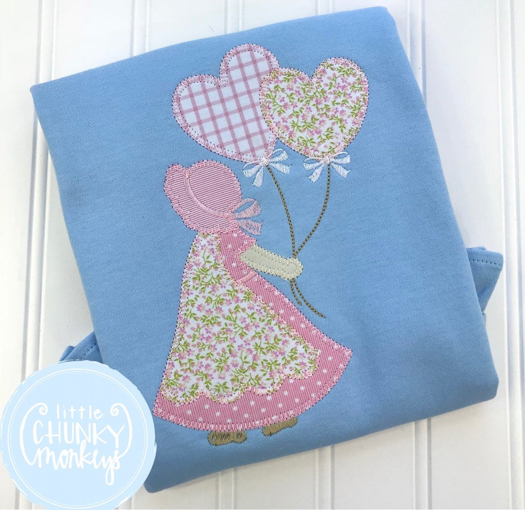 Girl Shirt - Valentine Shirt- Applique Girl Holding Heart Balloons on Baby Blue Shirt