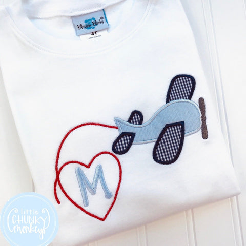 Boy Shirt - Valentine Shirt- Airplane with Heart and Single Initial