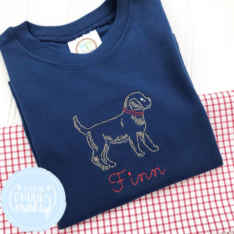 Boy Shirt - Boy Summer Shirt - Stitched Dog with Monogram on Navy Blue Shirt