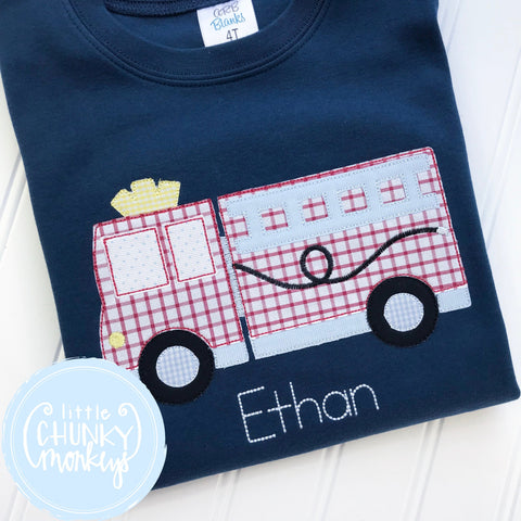 Boy Shirt - Applique Fire Truck with Personalization