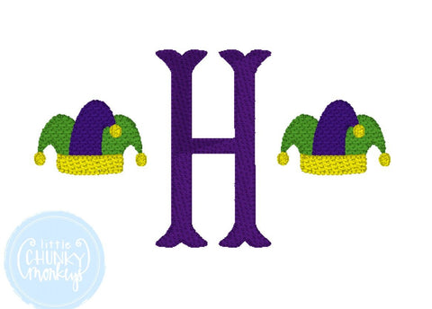 Boy Shirt - Boy Mardi Gras Shirt - Single Initial with Mini Mardi Gras Hats