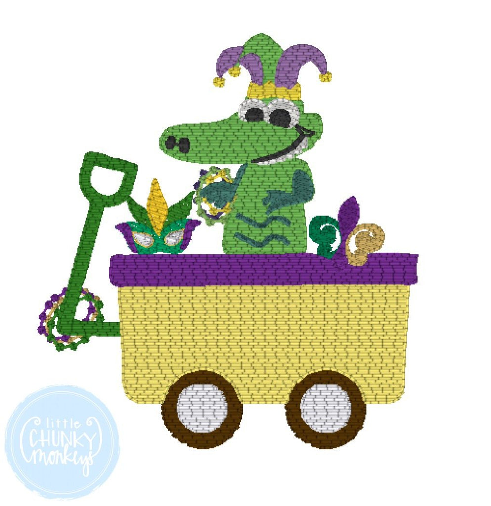 Boy Shirt - Boy Mardi Gras Shirt - Gator in Wagon Filled with Mardi Gras Items