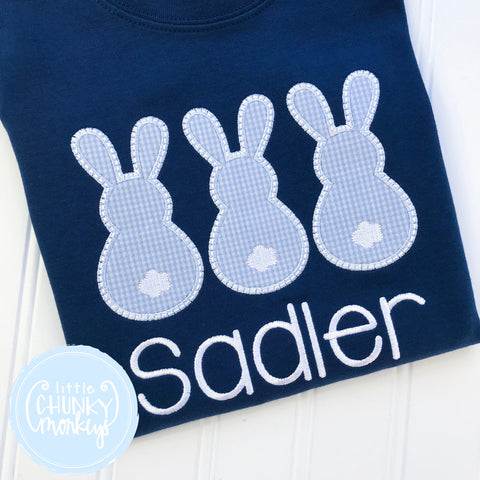 Boy Shirt - Easter Boy Shirt - Applique Bunny Trio on Navy Shirt + Personalization