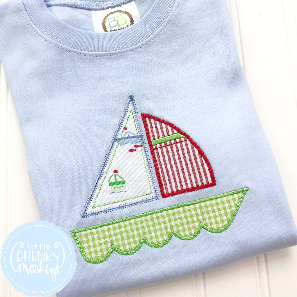 Boy Shirt - Boy Summer Shirt - Applique Sailboat on Baby Blue Shirt