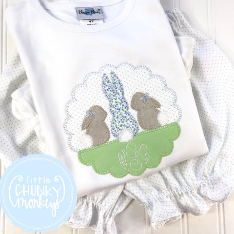 Girl Shirt - Easter Girl Shirt - Applique Bunny Trio with Monogram