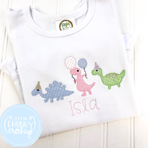 Girl Shirt - Applique Marching Birthday Party Dinosaurs + Personalization