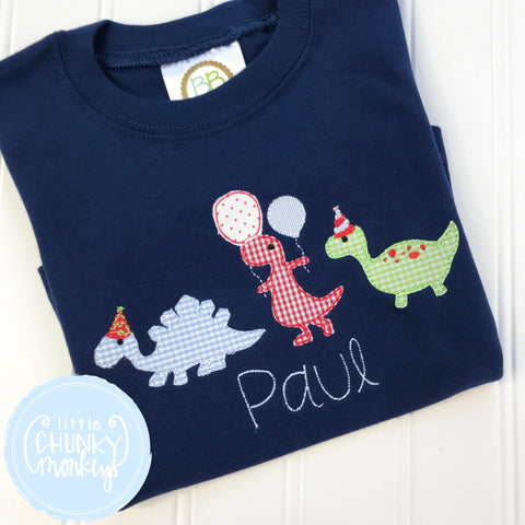 Boy Shirt - Applique Marching Birthday Party Dinosaur on a Navy Blue Shirt