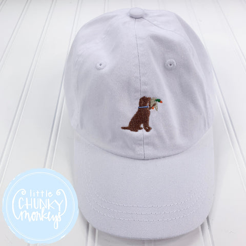 Toddler Kid Hat - White with Dog with Duck in His Mouth