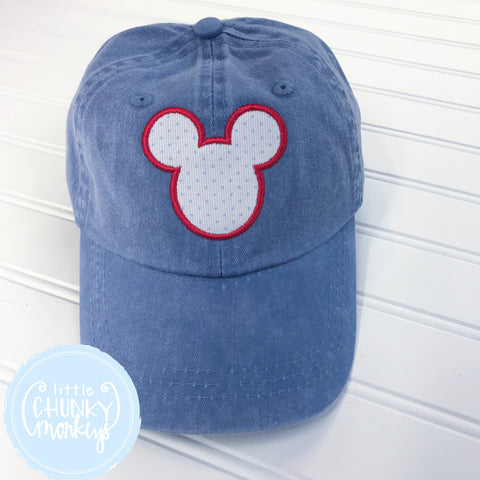 Toddler Kid Hat - Bitty Dot Mouse on Blue Hat