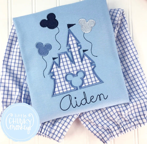 Boy Shirt - Applique Castle with Mouse Balloons + Personalization