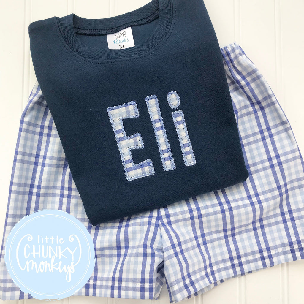 Boy Shirt - Applique Name on Navy Shirt