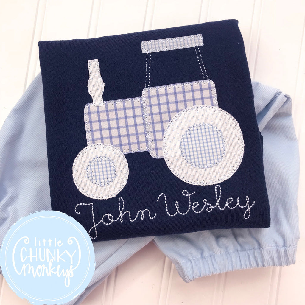 Boy Shirt - Applique Tractor on Navy Shirt