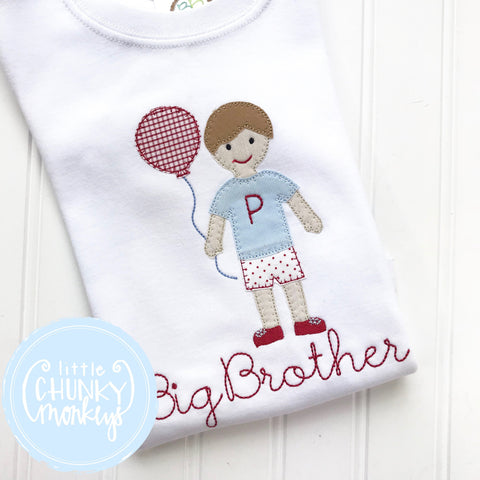 Boy Shirt -Big Brother Shirt- Boy Holding mouse Balloon