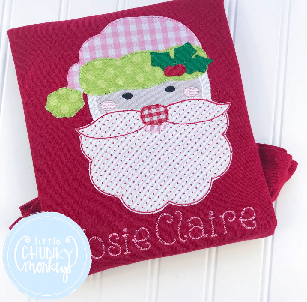 Girl Shirt - Applique Santa with Personalization