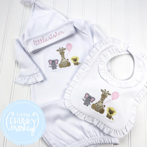 Baby Girl Gown - Newborn Gown Zoo Animal Stitch
