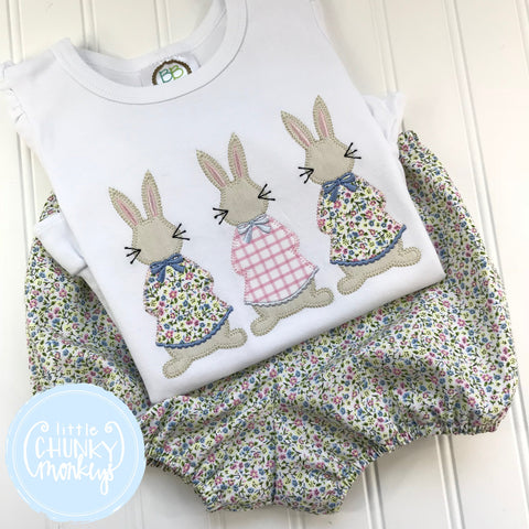 Girl Shirt - Easter Girl Shirt - Applique Bunny Trio