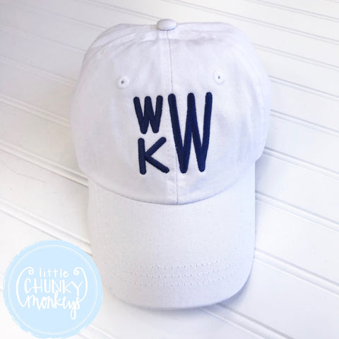 Toddler Kid Hat - White Hat with Stacked Navy Monogram