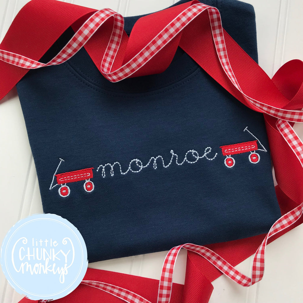 Boy Shirt - Boy Summer Shirt - Monogram with Wagon Minis on Navy Blue Shirt