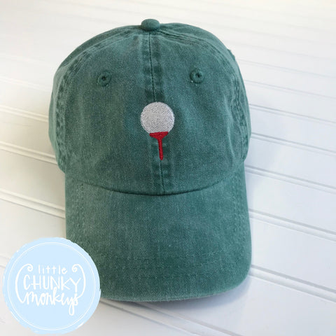 Toddler Kid Hat - Stitched Golf Ball with Tee on Forest Green Hat