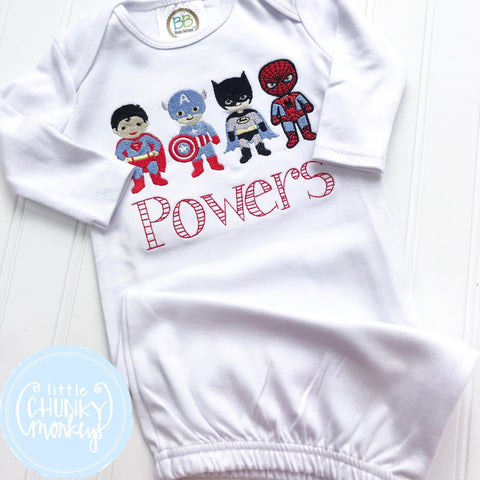 Boy Coming Home Shirt - Boy Gown - Newborn Gown with Super Hero + Personalization