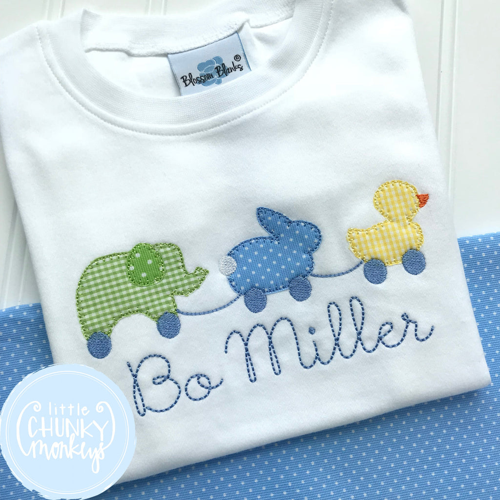 Boy Shirt - Boy Easter Shirt - Easter Applique Animal Pull Toy Trio