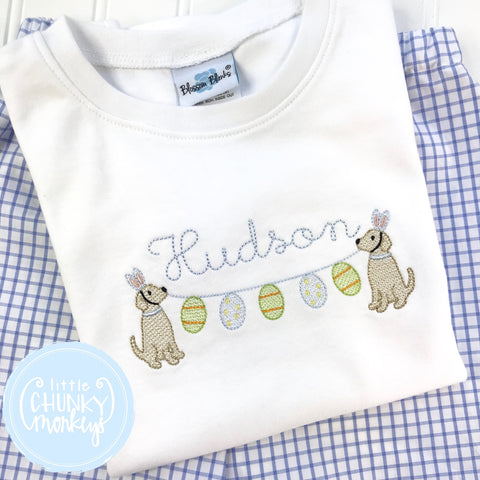 Boy Shirt - Boy Easter Shirt - Stitched Dog Holding Egg Banner + Personalization
