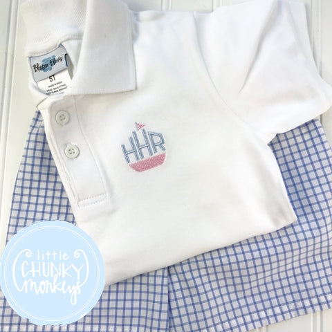 Boy Polo Shirt- Mini Tug Boat + Monogram on White Polo Shirt