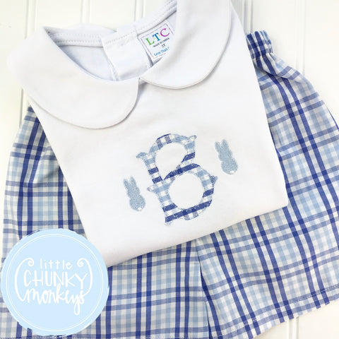 Boy Peter Pan Collar Shirt - Boy Easter Shirt - Applique Initial with Mini Bunnies