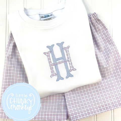 Boy Shirt - Personalized Boy Shirt - Applique Stacked Monogram