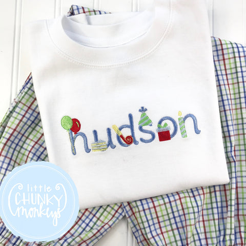 Boy Shirt - Boy Birthday Shirt - Stitched Name Birthday Font