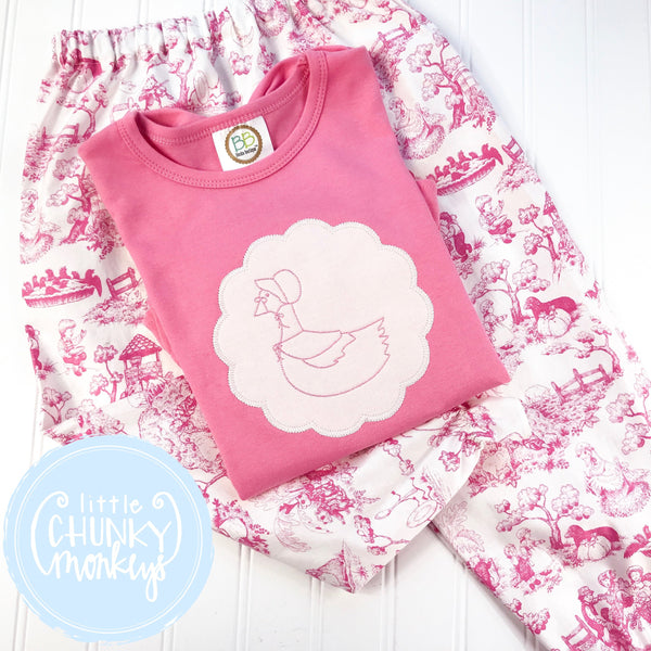 Girl outfit - Girl Shirt - Mother Goose Stitch on Cream Scallop on Pink Shirt