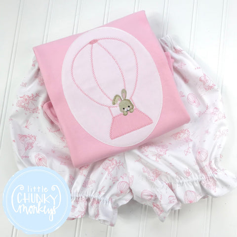 Girl outfit - Girl Shirt - Bunny in Hot Air Balloon Stitch on Cream on Pink Shirt
