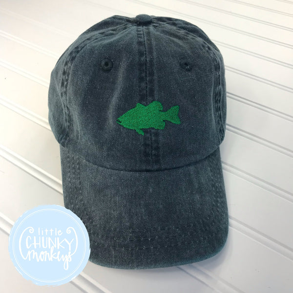 Toddler Kid Hat - Green Fish on Navy Hat