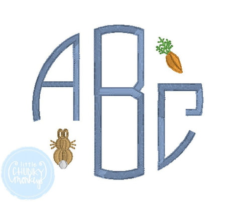 Boy Shirt - Boy Easter Shirt - Stitched Circle Monogram with Mini Bunny and Carrot