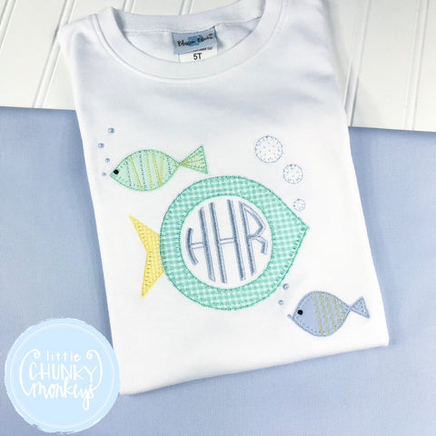Boy Shirt - Applique Stacked Fish Trio