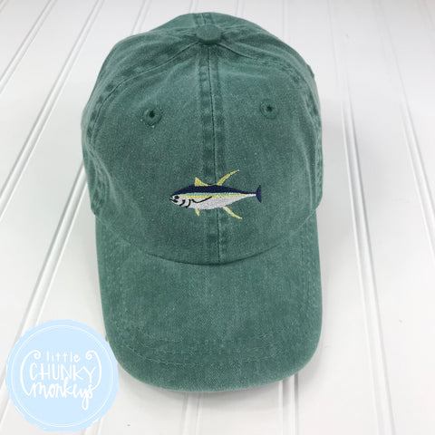 Toddler Kid Hat - Stitched Tuna Fish on Forest Green Hat