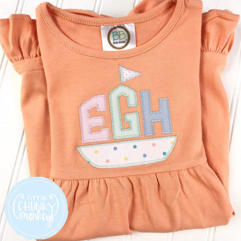 Girl Dress - Sailboat Applique Monogram on Peach Short Sleeve Dress