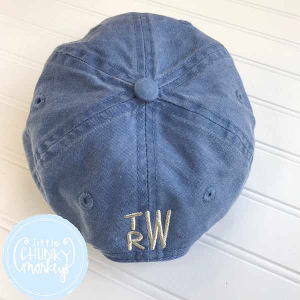 Toddler Kid Hat - Faded Baby Blue Hat with Stitched Dog with Duck in His Mouth