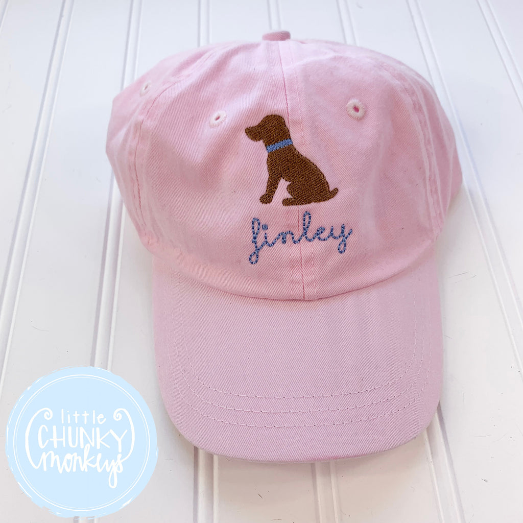 Toddler Kid Hat - Pale Pink with Sitting Chocolate Dog
