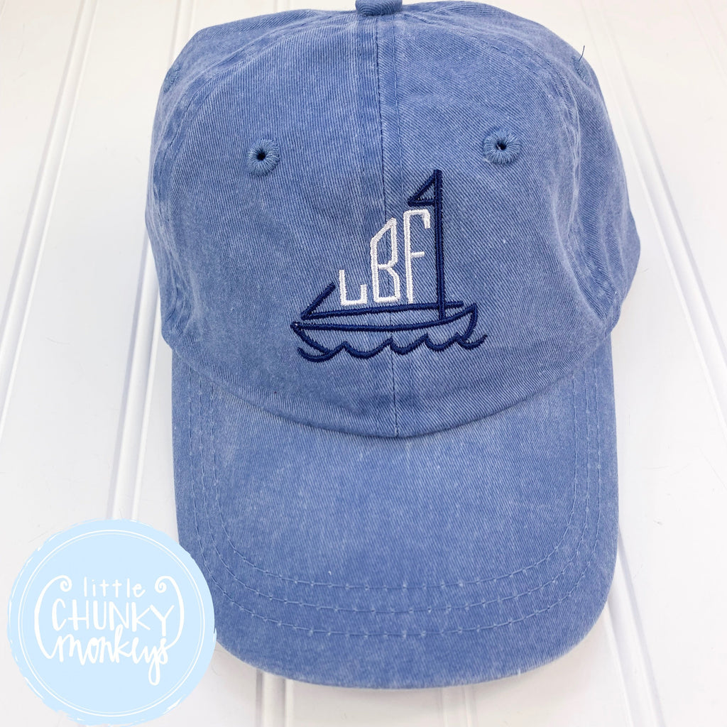 Toddler Kid Hat- Faded Baby Blue Hat with Stitched Sailboat Monogram