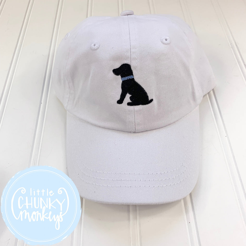 Toddler Kid Hat - Sitting Black Lab Puppy on White